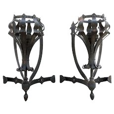 Pair of Large American Medieval Style Painted Wrought Iron One-Light Corner Wall Sconces