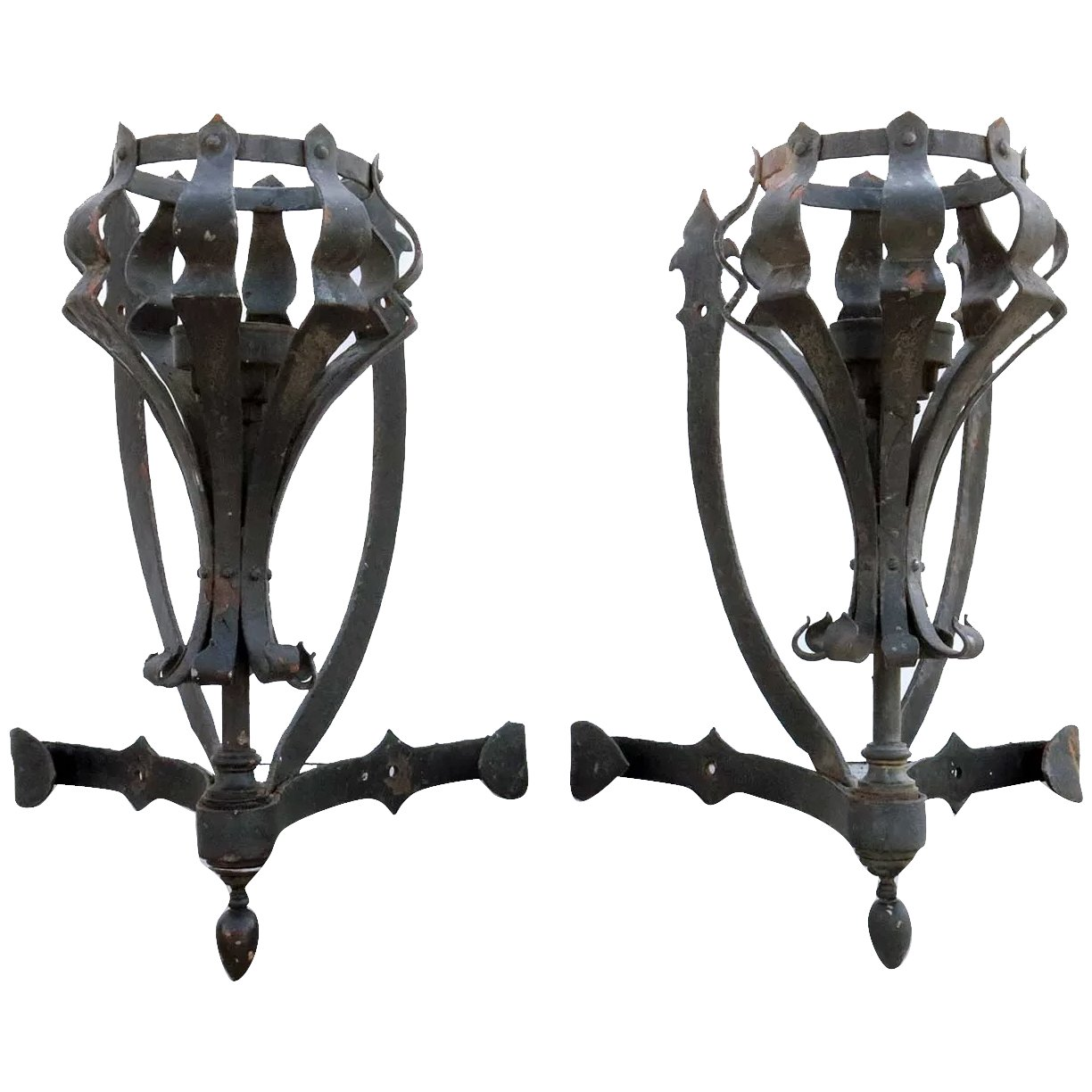 Pair Of Large American Medieval Style Painted Wrought Iron One Light Eron Johnson Antiques Ruby Lane