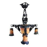 French Art Deco De Ross Wrought Iron (Fer Forge) and Glass Three-Arm Chandelier