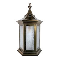 American Brass and Textured Rolled Glass Hexagonal One-Light Hanging Lantern