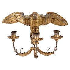 Italian Gold and Silver Giltwood and Metal Eagle Three-Light Wall Sconce