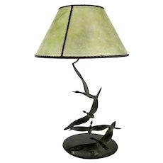 ROBERT GARRETT THEW Art Deco Bronze and Mica Geese One-Light Table Lamp