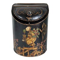 American Painted Toleware Chinese Tea Tin