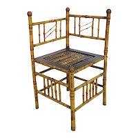 English Aesthetic Movement Bamboo Corner Side Chair