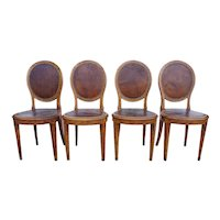 Set of Four French Figured Veneer and Leather Side Chairs