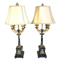 Pair French Louis XVI Style Verde Antico Marble Four-Light Table Lamps