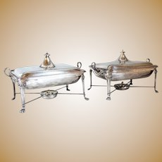 Pair of English Thomas Bradbury & Sons Silverplate and Silver Armorial Chafing Dishes