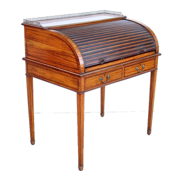 English Edwardian Sheraton Style Hampton and Sons Inlaid Satinwood Writing Desk