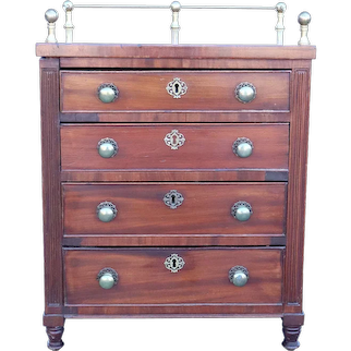 Small English Mahogany and Brass Gallery Chest of Drawers