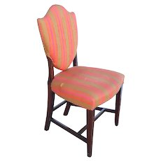 English Hepplewhite Inlaid Mahogany Upholstered Shield Back Dining Side Chair