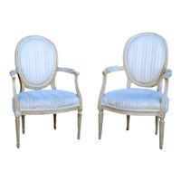 Pair of French Louis XVI Style Beechwood Upholstered Open Armchairs (Fauteuils)