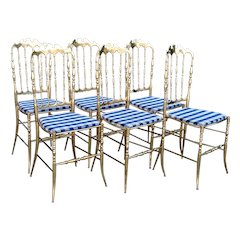 Set of Six Vintage Italian Chiavari Hollywood Regency Brass Side Dining Chairs