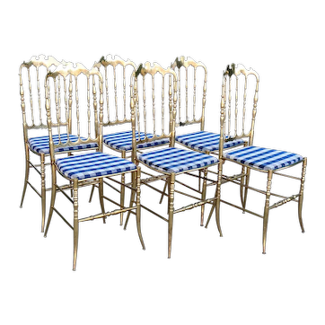 Set of Six Vintage Italian Chiavari Hollywood Regency Brass Side Dining Chairs