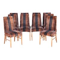 Set of 10 Vintage American Mid Century Modern Upholstered Tall Back Dining Side Chairs