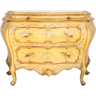 Italian Venetian Rococo Style Painted Pine/ Poplar Floral Commode