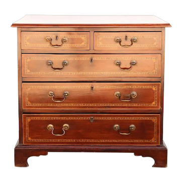 English Georgian Inlaid Mahogany Bowfront Chest of Drawers