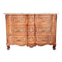 French Louis XV Marble Top Walnut Commode