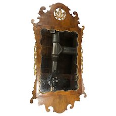 English Chippendale Style Parcel-Gilt and Walnut Wall Mirror