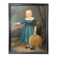 American School Folk Art Oil on Canvas Painting, Portrait of a Child in a Blue Dress