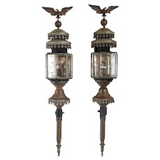 Pair of Belgian Verstraeten-Roose Toleware, Brass and Beveled Glass Coach Lanterns
