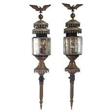 Pair of Belgian Verstraeten-Roose Toleware, Brass and Beveled Glass Coach Lanterns