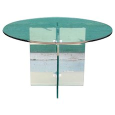 Vintage American Mid Century Modern Glass X-Base Round Dining Table