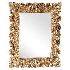 Small Italian Baroque Style Gilt Gesso Mirror