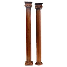 Pair of Small American Victorian Maple/Pale Walnut Fluted Columns