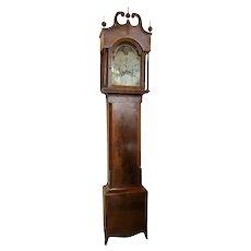 English George III Figured Inlaid Mahogany Grandfather Clock