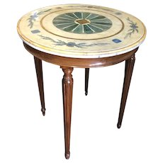Italian Style Inlaid Faux-Stone and Marble Top Round Walnut Side Table