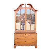 American New England Pine / Poplar Glazed Door Display Cabinet