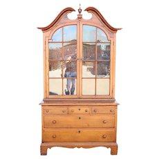 Early American Pine / Poplar Glazed Door Display Cabinet
