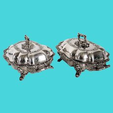 Pair of English J. & J. Waterhouse & Co. Sheffield Plate Armorial Covered Serving Dishes
