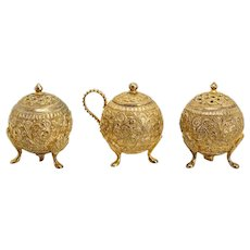 Three-Piece Anglo Indian Gold Plated Metal Spice Set