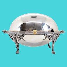 English Edwardian Elkington & Company Silverplate Domed Revolving Lid Serving Dish