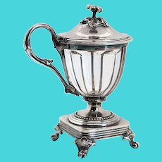 French Christofle Silver Plate and Baccarat Crystal Mustard Pot