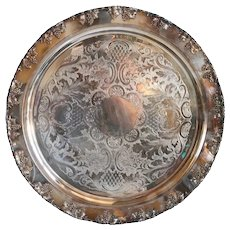 Large Vintage American Crescent Silverware Silverplate Grapevine Round Tray