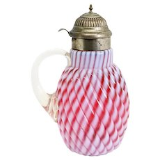 American Northwood Cranberry Opalescent Glass and Nickel Reverse Chrysanthemum Swirl Syrup Jug