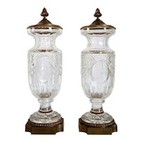 Pair of French Louis XVI Style Gilt Brass Mounted Cut Glass Garniture Urns