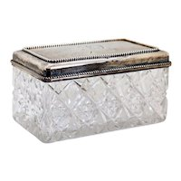 American Black, Starr & Frost Sterling Silver and Cut Crystal Rectangular Dresser Box