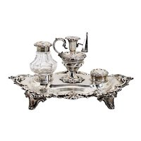 English Victorian Henry Wilkinson & Company Sterling Silver and Glass Inkstand