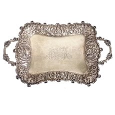 American Dominick & Haff for J. E. Caldwell Gilt Sterling Silver Two-Handle Tray