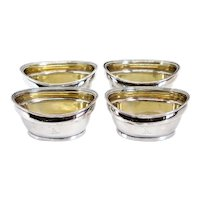 Set of Four English George III John Emes Gilt Sterling Silver Armorial Salt Dips