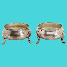 Pair American Tiffany & Company Sterling Silver Round Footed Salt Dips
