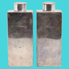 Pair of American Tiffany & Company Sterling Silver Talc Rectangular Vanity Bottles