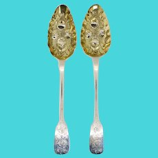 Pair of English George IV Morris & Michael Emanuel Gilt Sterling Silver Berry Spoons