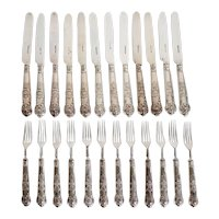 Set of 24 English Aaron Hadfield Sterling Silver King's Pattern Dessert Knives and Forks
