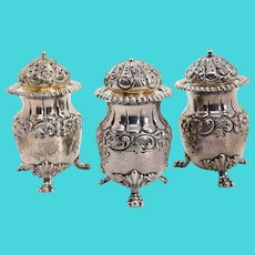 Set of Three American Frank W. Smith for J.E. Caldwell Sterling Silver Spice Shakers