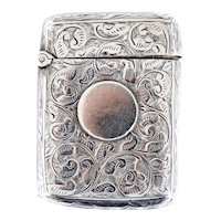 English Victorian Joseph Hawkins Birmingham Chased Sterling Silver Vesta Case