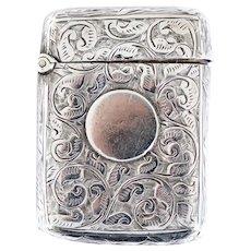 English Victorian Joseph Hawkins Birmingham Chased Sterling Silver Vesta Case